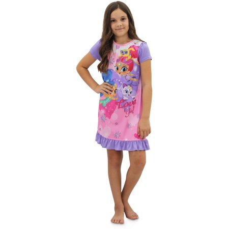 Shimmer And Shine Girls Nightgown Rainbow Genies Gown Long or Short Sleeve Night Shirt, Short Sleeve, Size: 10