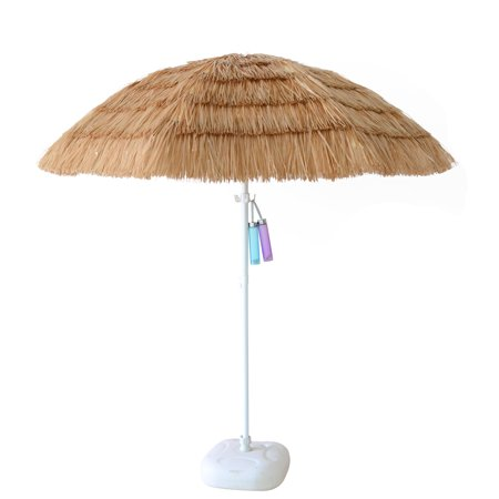 ORNO TTOBE 7ft Hula Thatched Tiki Umbrella Hawaiian Style Beach Patio Umbrella Natural Color 8 ribs (NO BASE)