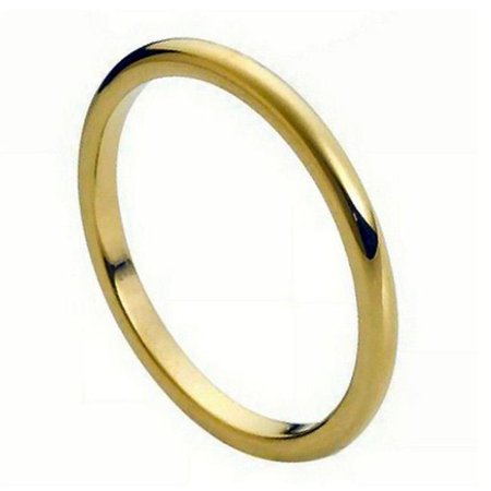 TK Rings 185TR-2mmx14.0 2 mm High Polish Yellow Gold Plated Thin Band Tungsten Ring - Size 14
