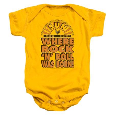 Trevco SUN WHERE ROCK WAS BORN Gold Infant Unisex Onesie - Yellow Onesie Baby