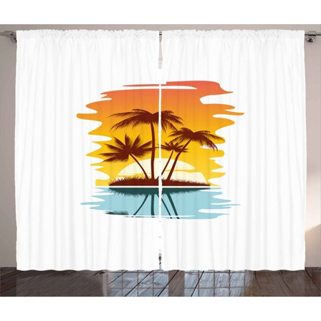 Beach Curtains 2 Panels Set Tropical Abstract Background With Palm Trees And Sunset Ocean Coastline