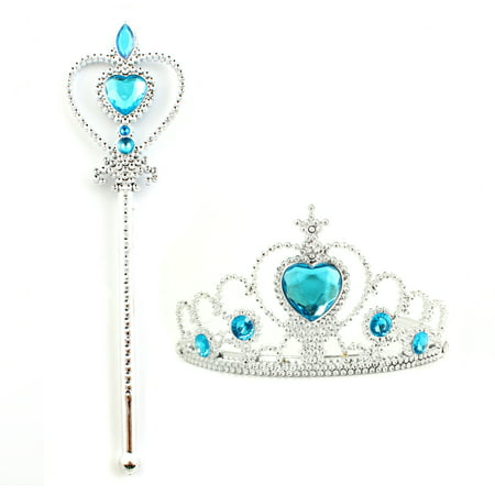 Kids Girl Queen Princess Cosplay Accessories Crown Wand & Gloves Christmas - Elsa Dresses