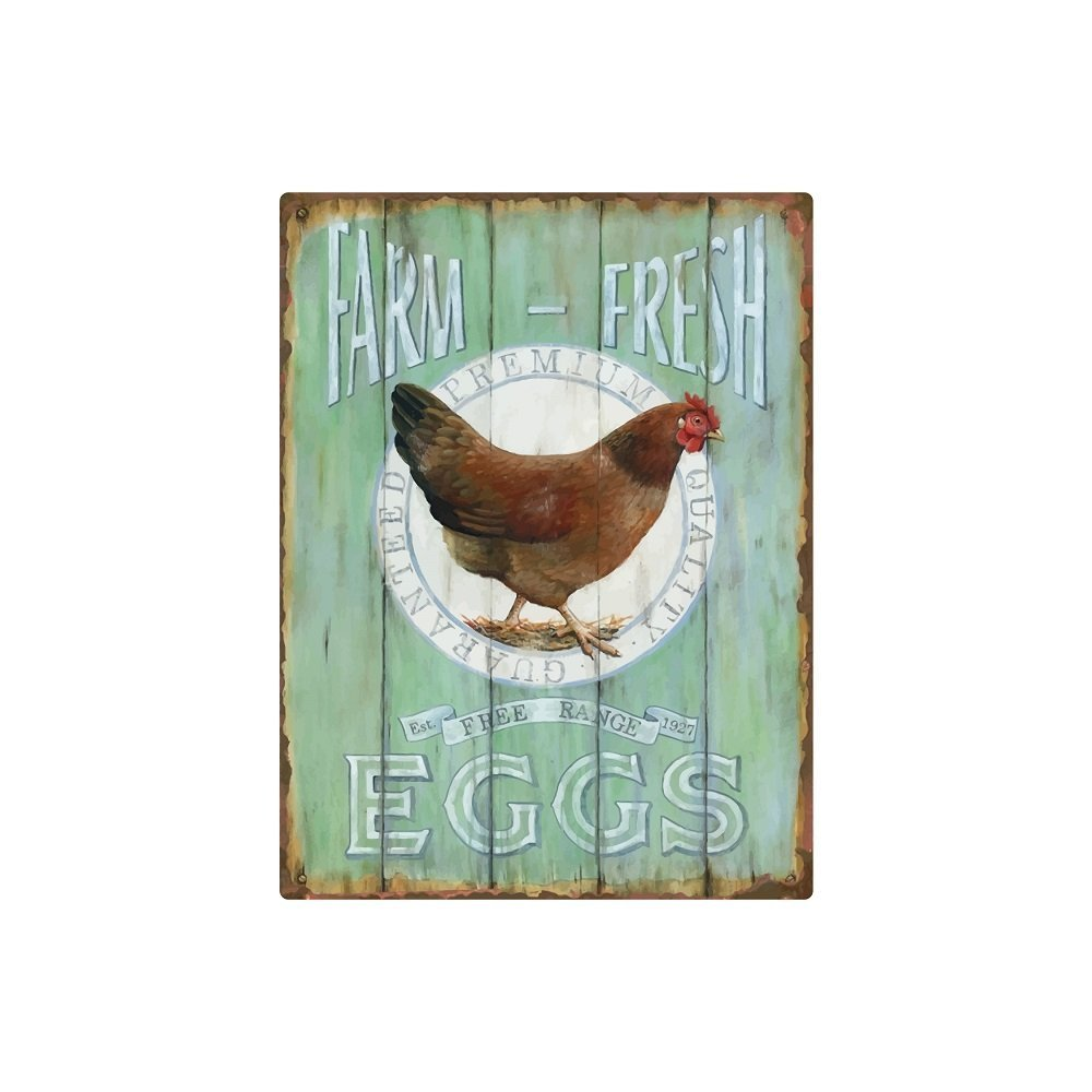 American Wit Vintage Farmhouse Decor, Tin 12 x 9 'Farm Fresh Eggs' Sign for Home & Kitchen, Retro Farmhouse Signs, Country-Inspired Home Signs, Farmhouse Wall Decorations, Metal Tin Signs for Wall