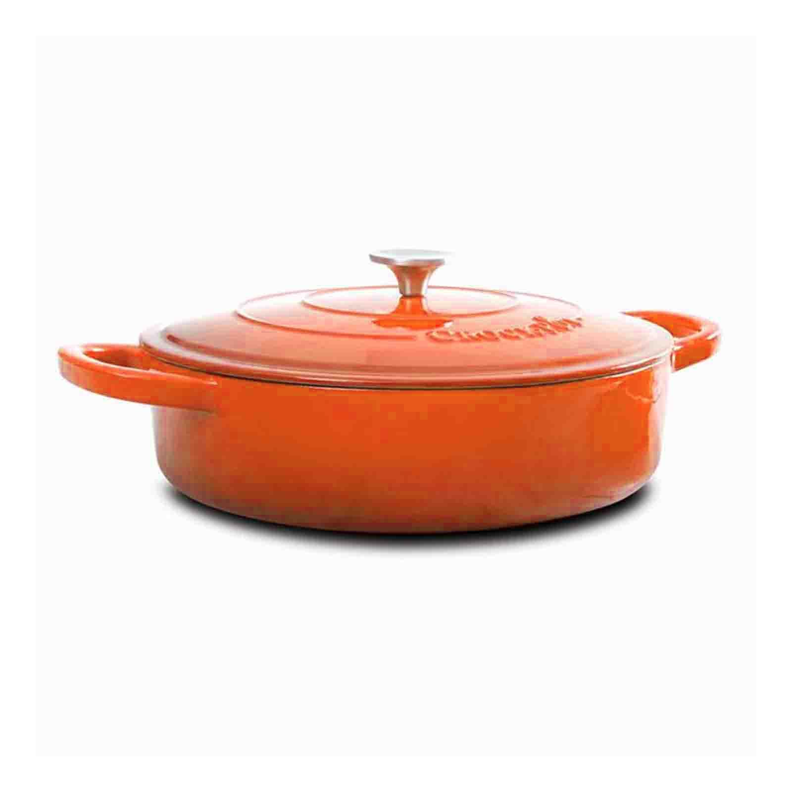 Crock Pot Artisan Enameled Cast Iron 5 Qt Round Braiser Pan with Self Basting Lid, Sunset Orange by Crock-Pot
