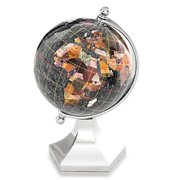 Alexander Kalifano GLP110BS-BO 4 in. Gemstone Globe with Bright Silver Contempo Stand - Black Opalite