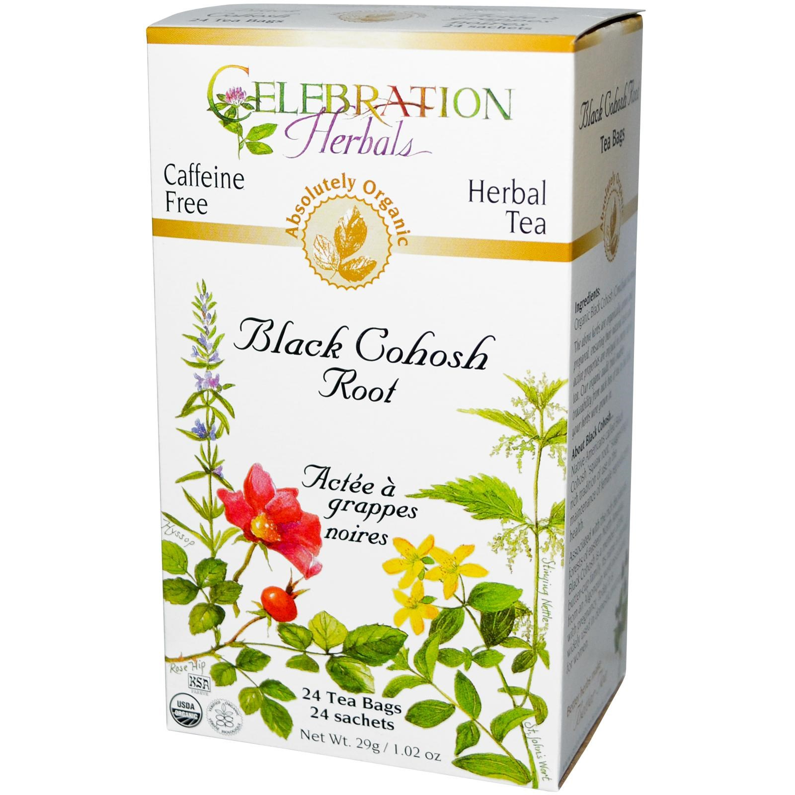 Celebration Herbals Organic Herbal Tea Caffeine Free Black Cohosh Root 24 Herbal Tea Bags