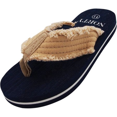 NORTY Boys Lightweight Canvas Strap Thong Flip Flop Everyday Beach Pool Sandal - Runs One Size Small, 40577 Navy / 12MUSLittleKi - Wedding Flip Flops