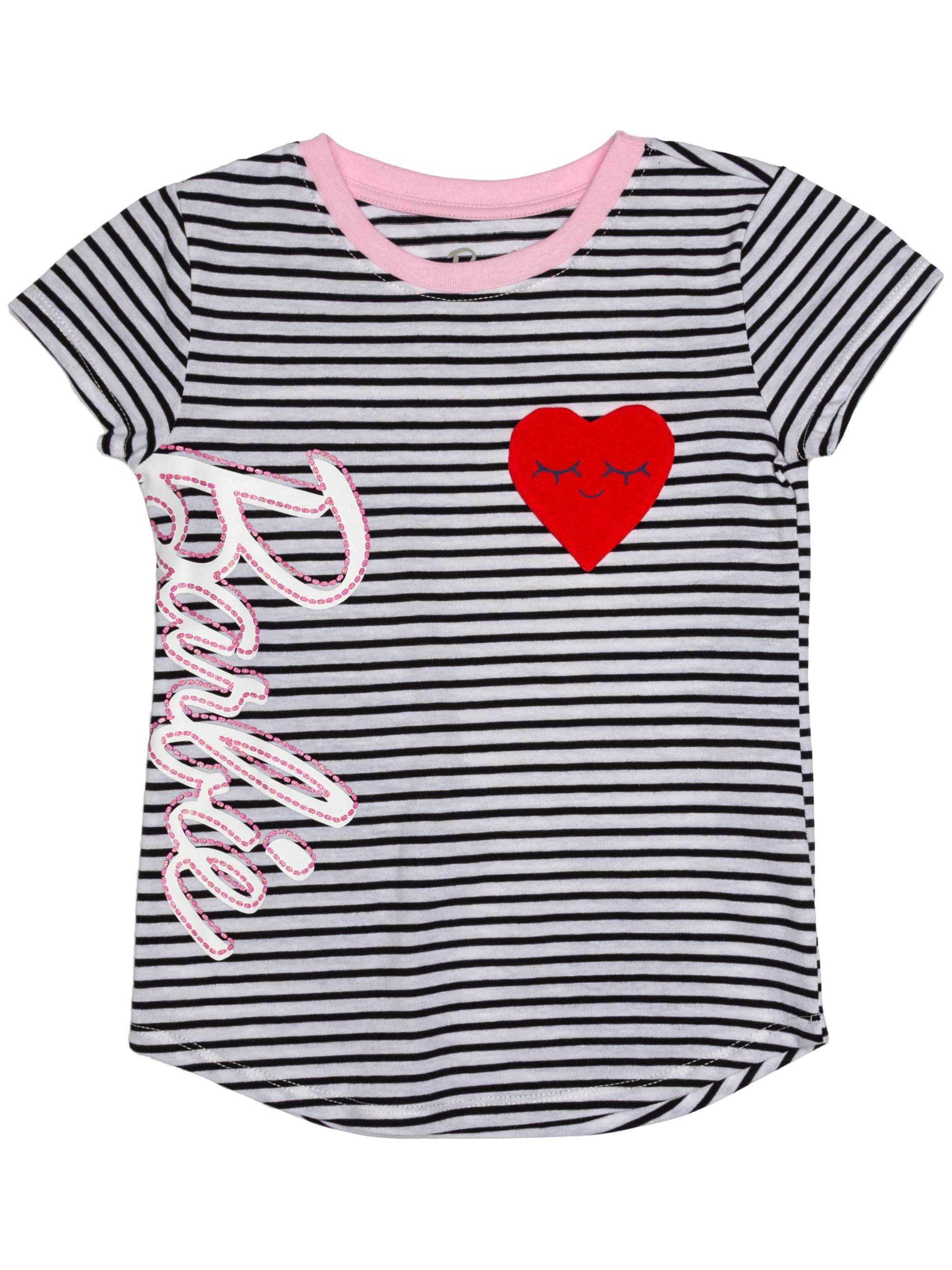 Heart Pocket Striped Logo Tee (Little Girls & Big Girls)