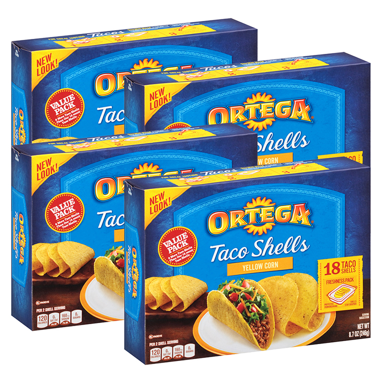 Ortega Taco Shells Yellow Corn 18 Count Box