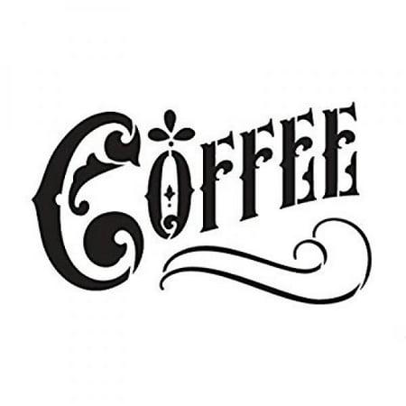 Coffee Word Art Stencil - Victorian Headline - 9 X 6 - Halloween Pumpkin Stencils Words