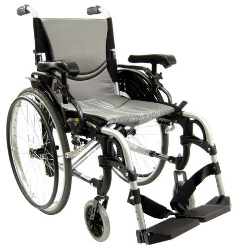 Karman Healthcare S-305 Ultralight Adjustable Ergonomic Wheelchair with 16 Inches Seat Width, Pearl Silver