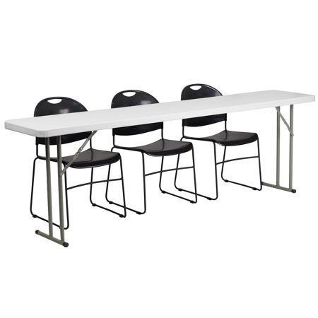 Lancaster Home 18-inch x 96-inch Plastic Folding Training Table with 3 Black Plastic Stack Chairs ()