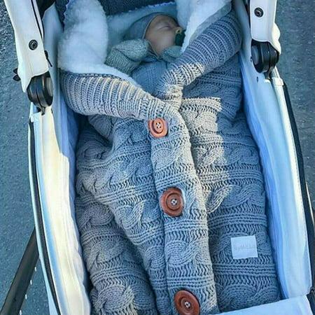 Newborn Baby Knit Crochet Swaddle Wrap Swaddling Blanket Warm Sleeping Bag ()
