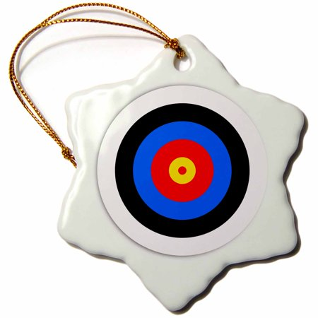 Halloween Tree Target (3dRose Target with red yellow black white and blue rings - Target with red yellow black white and blue ring - Snowflake Ornament,)