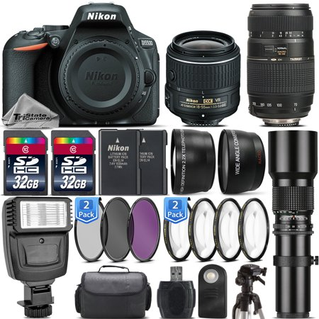 Nikon D5500 DSLR Camera + Nikon 18-55mm VR II +70-300mm + 500mm +Flash -64GB