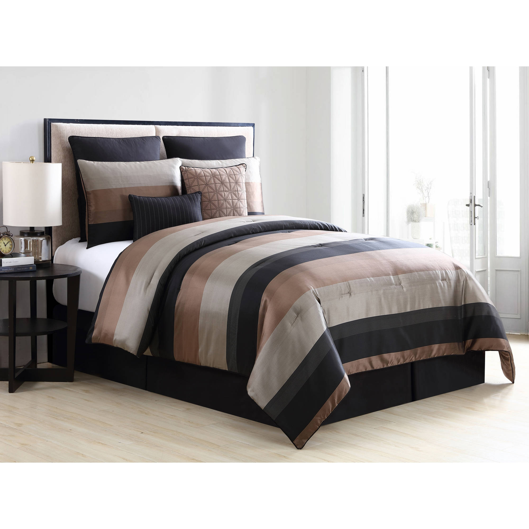 VCNY Home Black/Gold Metallic Maxwell Stripe 6-/8-Piece Bedding Comforter Set, Euro Shams and Decorative Pillows Included