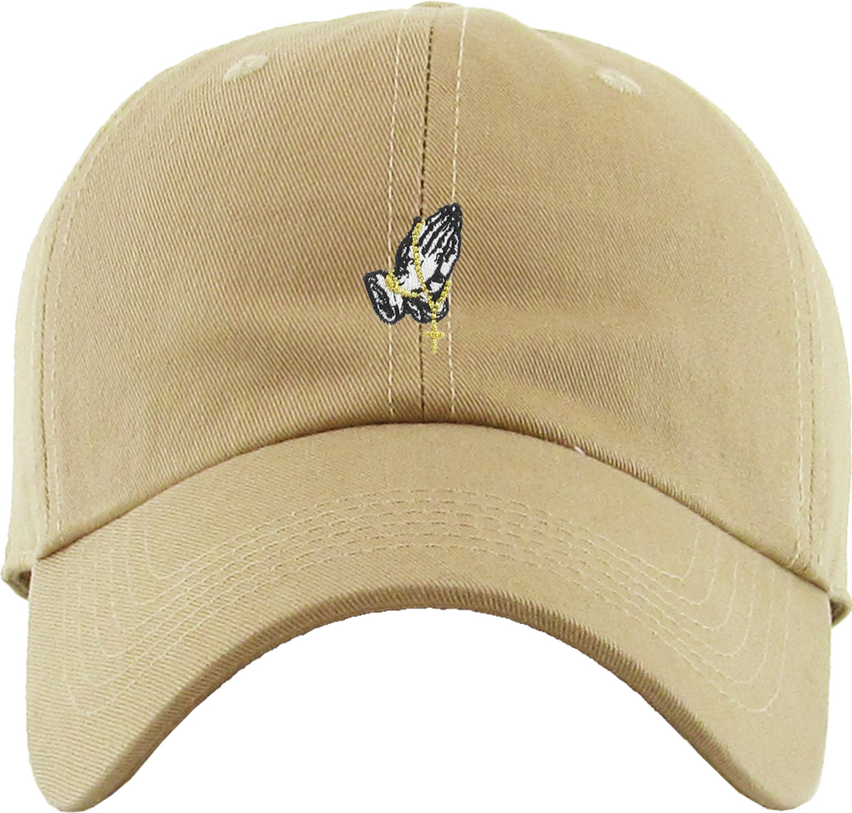 ef0a5ea8867a2 Praying Hands Rosary Khaki Dad Hat Baseball Cap Polo Style Adjustable  Flexfit Nike Adidas City Hunter - Walmart.com
