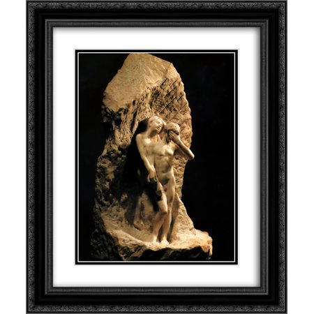 Auguste Rodin 2x Matted 20x24 Black Ornate Framed Art Print 'Adam and Eve expelled from
