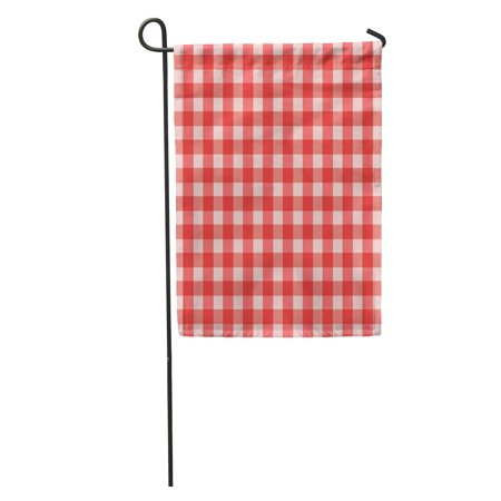 LADDKE Pattern Red Check Gingham Table 50S Abstract Bavarian Breakfast Garden Flag Decorative Flag House Banner 28x40 inch