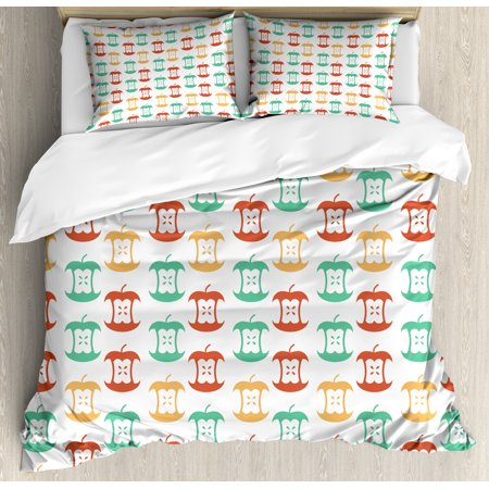 Apple Queen Size Duvet Cover Set  Apple Core Pattern In Retro Colors Eaten Food Fruit Organic  Decorative 3 Piece Bedding Set With 2 Pillow Shams  Dark Coral Pale Orange Sea Green  By Ambesonne