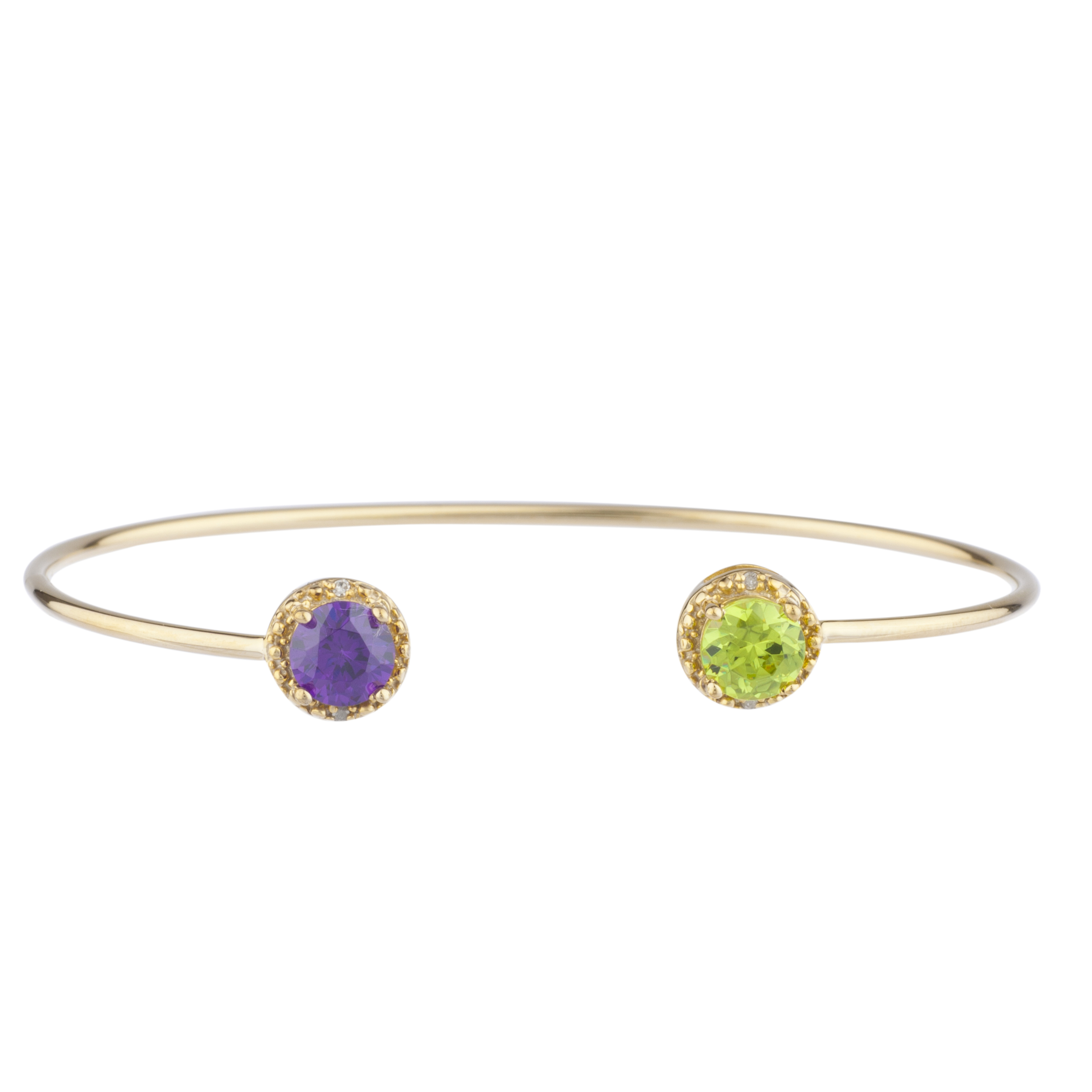 Amethyst & Peridot Diamond Bangle Round Bracelet 14Kt Yellow Gold Plated Over .925 Sterling Silver by Elizabeth Jewelry Inc