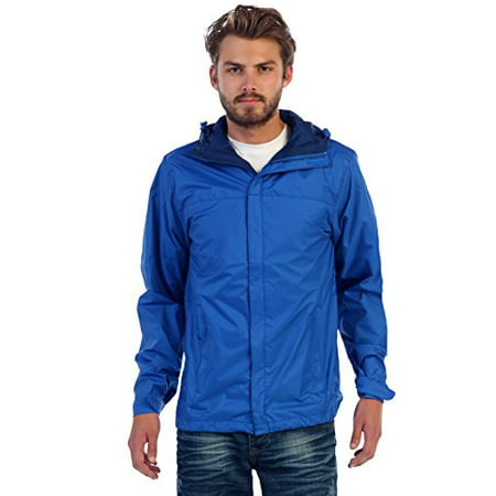 Gioberti Mens Waterproof Front Zip Hooded Rain Jacket, Royal Blue, XL