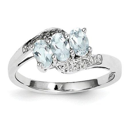 Sterling Silver Rhodium Aquamarine & Diamond Ring. Gem Wt-0.58ct