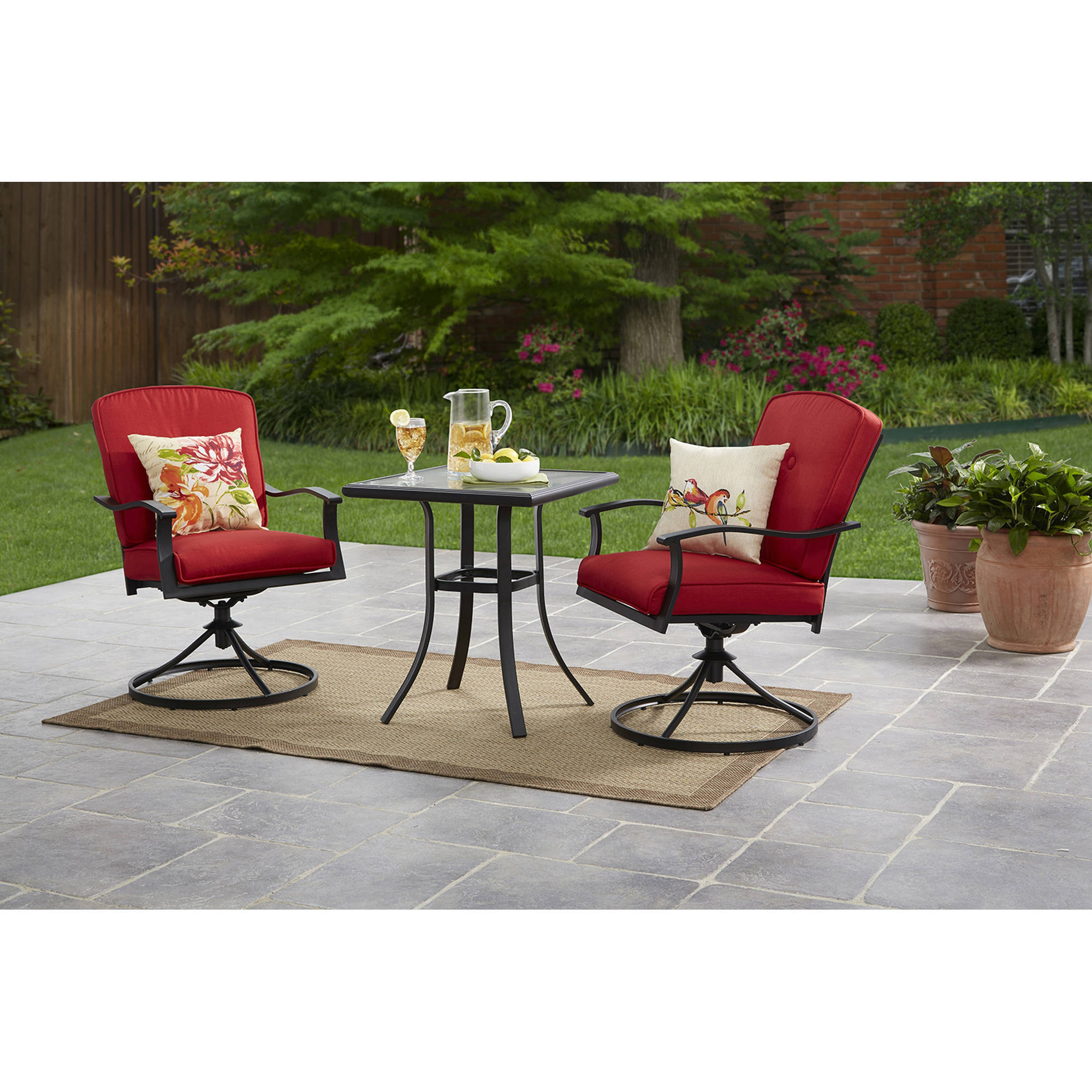 Mainstays Belden Park 3 Piece Outdoor Bistro Set For Patio And Porch Red