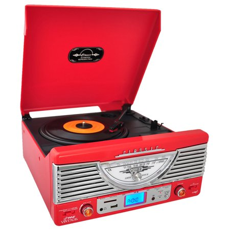 Pyle Retro-Turntable - Plays Radio, MP3s via USB & SD Memory with Vinyl-to-MP3 - PTR8UR