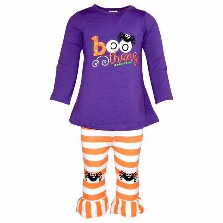 Unique Baby Girls Boo Thang Outfit with Spider Leggings (8/XXXL, Purple)