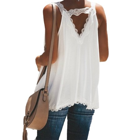 Women Loose Sleeveless V Neck Lace Cami Vest Tank Top Casual Blouse Tee