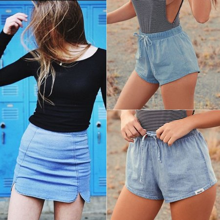 Sexy Womens Vantage Hot Shorts Slim High Waisted Stone Wash Denim Hot Pants S Xl