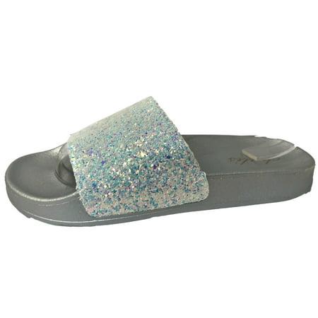 Ana-1 Women Glitter Sparkle Slides Flip Flop Sandal Flats (Glitter Platform Slide)