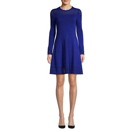 Mesh Trimmed Knit Fit-&-Flare Dress ()