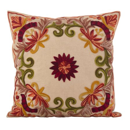 Saro Lifestyle Embroidered Floral Design Cotton Poly Filled Throw Pillow