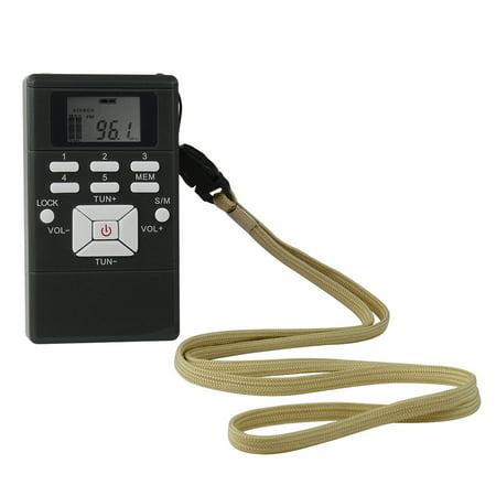 Mini Portable DSP Stereo FM Radio Digital Clock Receiver for Meeting  Simultaneous Interpretation Clip-on Radio with Earphone Lanyard 1 2