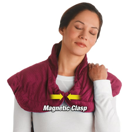 Thermapulse Relief Wrap, Heat and Massage Therapy for Shoulders and Back, Burgundy, As Seen on TV