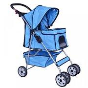 New Blue 4 Wheels Pet Stroller Cat Dog Cage Stroller Travel Folding Carrier 04T by BestPet