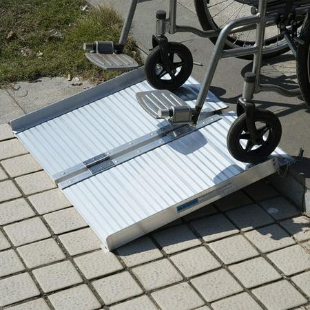 Ktaxon 2' Folding Wheelchair Ramps Aluminum Threshold Mobility Ramp Handicap Scooter Wheelchair Walker - Elmo 2 In 1 Walker