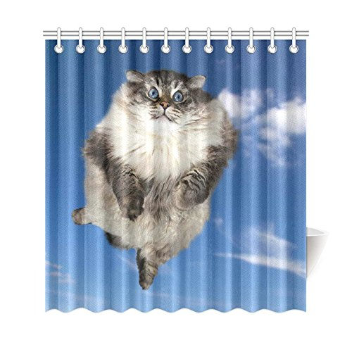 GCKG Cat Animal Shower CurtainFunny Flying In The Clouds