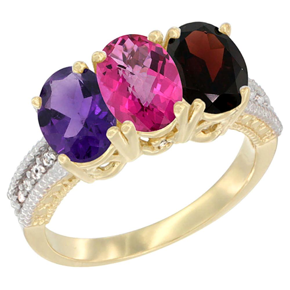 10K Yellow Gold Diamond Natural Amethyst, Pink Topaz & Garnet Ring Oval 3-Stone 7x5 mm,sizes 5-10 by WorldJewels