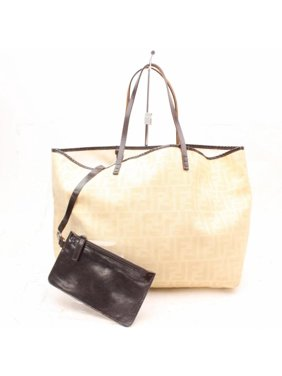 2e9b3b4efb03 Product Image PRE-OWNED Monogram Ff Zucca Roll Shopper with Pouch 869268  Beige Canvas Tote. Fendi
