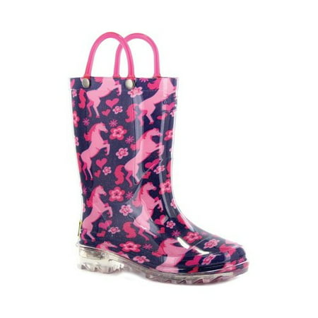 Western Chief Girls' Glitter Horse Light Up Rain Boot (Glitter Boots)
