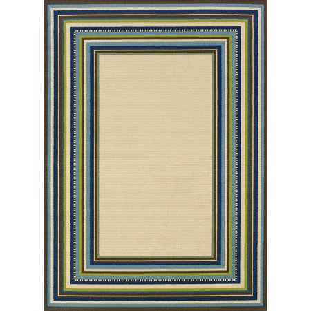 All Weather Patio Rugs (Moretti Crowne Area Rugs - 1003X Outdoor Ivory Patio Stripes Bordered Lines Rug )