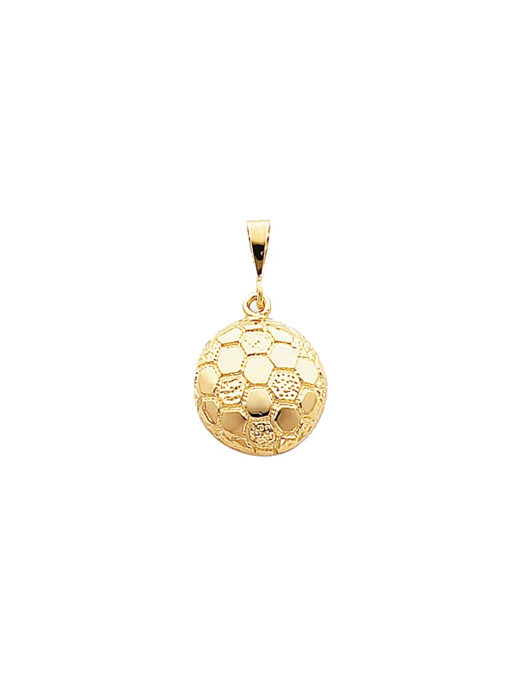 10K Yellow Gold Polished Soccer Ball Charm Pendant - 30mm