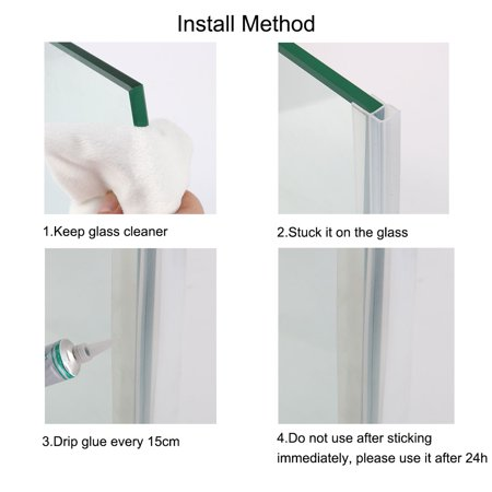 U Type Frameless Shower Door Bottom Seal for 3/8 inch Glass, 9.8 Ft Length - image 4 of 7