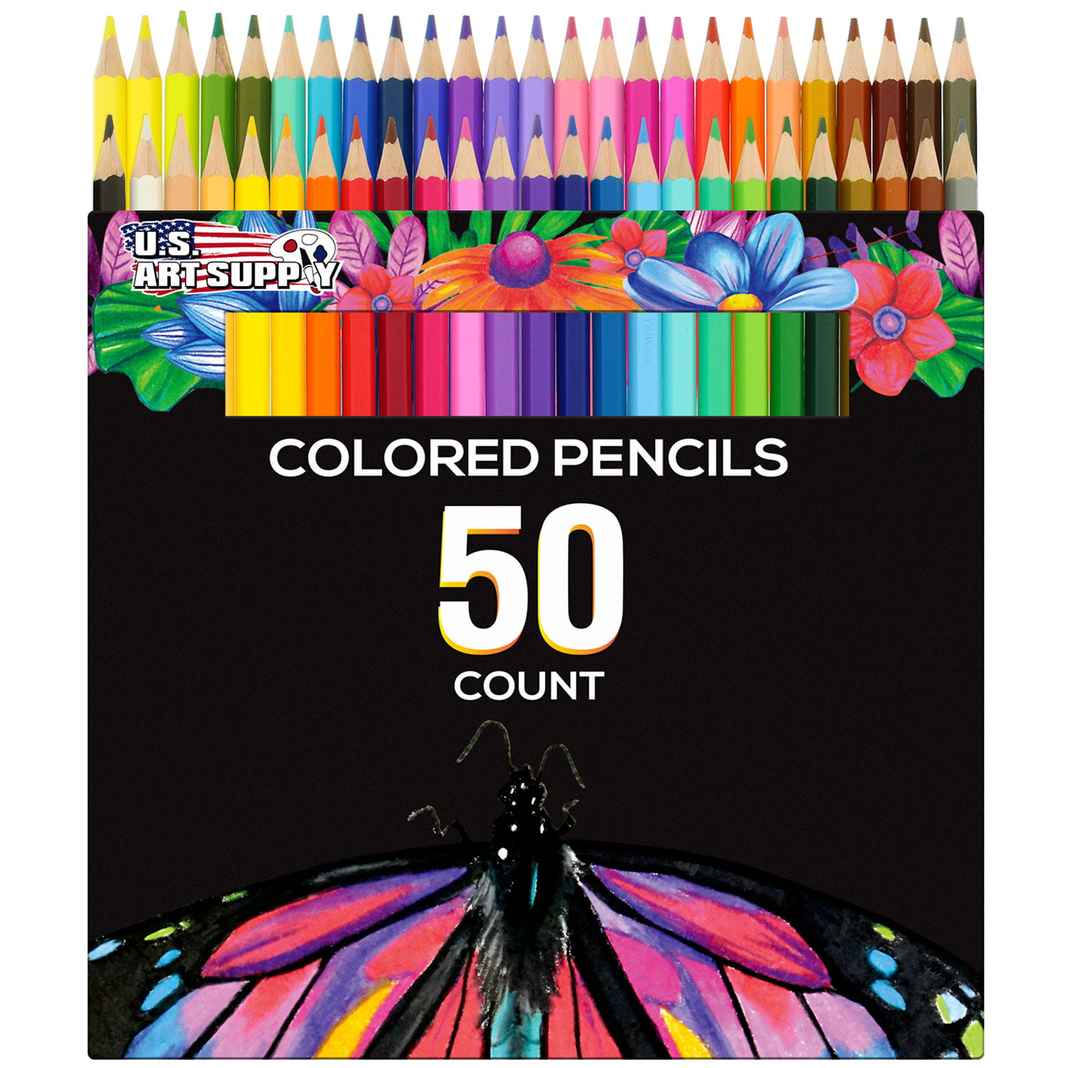 US Art Supply 50 Piece Adult Coloring Book Artist Grade Colored Pencil Set by US Art Supply