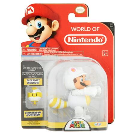 Jakks Pacific World of Nintendo Super Mario Series 2-1 White Tanooki Mario Figure 3+