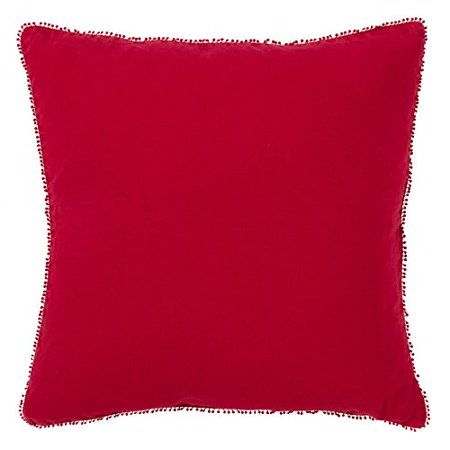 Saro Lifestyle 15063.R20S 20 in. Square Pompom Down Filled Pillow - Red - image 1 de 1