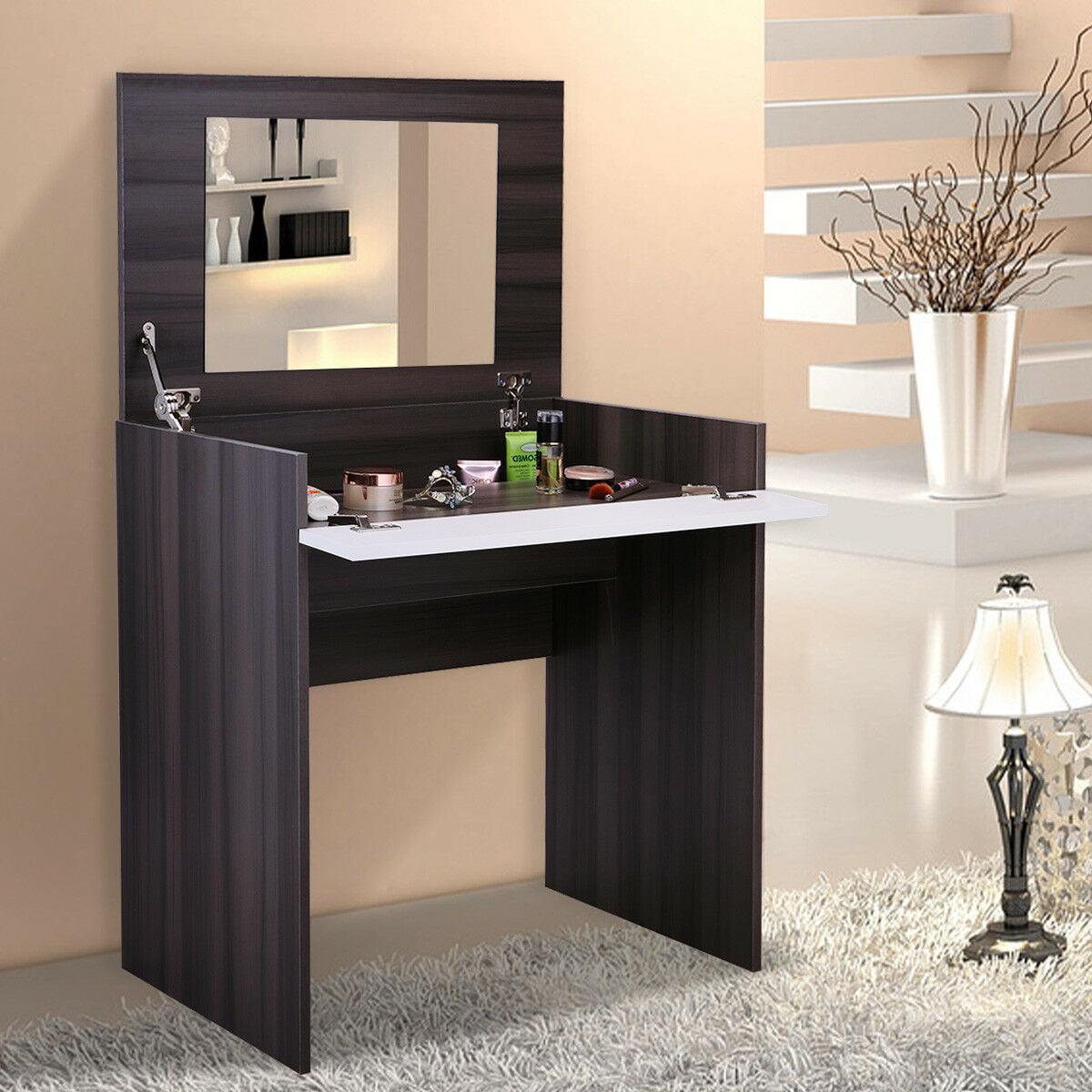Veryke Vanity Set Makeup Vanity Table For Bedroom Makeup Table Dressing Table With Flip Up Mirror And Hidden Storage Box Ebony Walmart Com Walmart Com